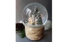 """Снежный шар """"Сторожка"""" на коре (стеклянный, с мелодией, D 10 см)"""