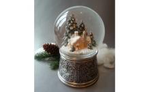 """Снежный шар """"Сторожка"""" в металле (стеклянный, с мелодией, D 10 см)"""
