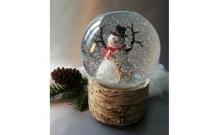 """Снежный шар """"Снеговик"""" на коре (стеклянный, с мелодией, D 10 см)"""