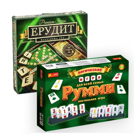 Комплект полезных игр «Румми + Эрудит Премиум»