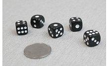 Кости игральные кубики, 12 мм черные, Китай