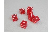 Кости игральные кубики, 16 мм красные прозрачные, Китай