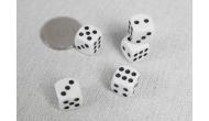 Изображение - Кости игральные кубики, 12 мм. Белый с черной точкой, Китай