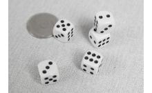 Кости игральные кубики, 12 мм. Белый с черной точкой, Китай