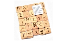 Набор деревянных рун для гадания с аннотацией Ясень