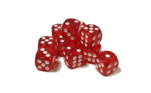 Кости игральные кубики, 14 мм красные прозрачные скругленные