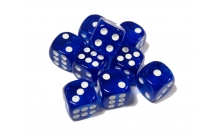 Кости игральные кубики, 14 мм синие прозрачные скругленные