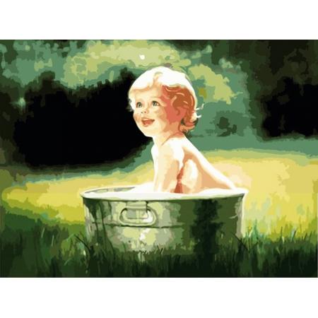 Прохлада в жаркий день, серия Дети, рисование по номерам, 40 х 50 см, Идейка, Прохлада в жаркий день (MG1025)