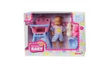 Пупс, 12 см, со стульчиком для кормления и аксессуарами, New Born Baby, 503 9806-1