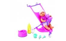 Пупс мини NBB с коляской и аксессуарами, 12 см, New Born Baby, 503 0928