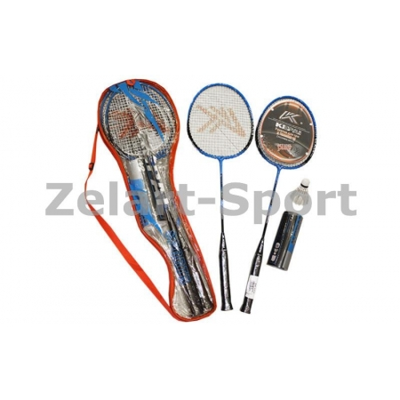 Ракетки для бадминтона (2рак+3 воланчика+PVC чехол) KEPAI KB-3112 (сталь)