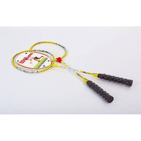 Ракетки для бадминтона Дубл. (2рак+PVC чехол) WILSON WYZ-80 (сталь, синий, желтый, красный)