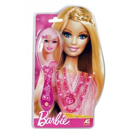 Расческа с розовым принтом и бусы. Barbie. Mattel, с розовым принтом, 1027-25520-1