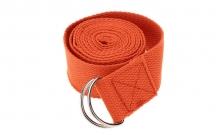 Ремень для йоги FI-4943-7 (полиэстер+хлопок, р-р 183 x 3,8см, оранжевый, 1уп-1шт, цена за 1шт)