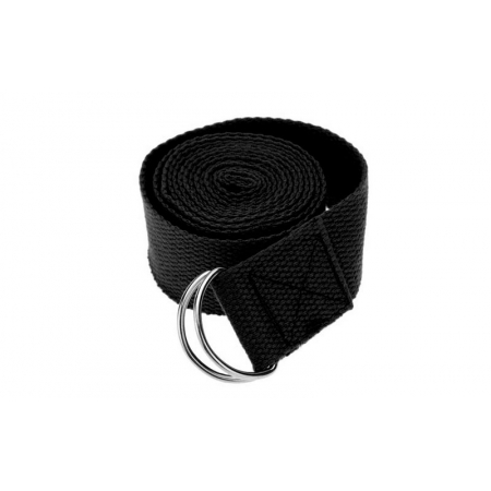 Ремень для йоги FI-4943-8 (полиэстер+хлопок, р-р 183 x 3,8см, черный, 1уп-1шт, цена за 1шт)