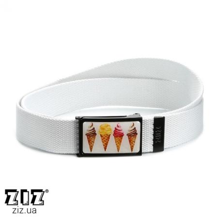 Ремень тканевый Мороженое, ZIZ-2900702 (черн, бел, хаки, коричн, син, сер)