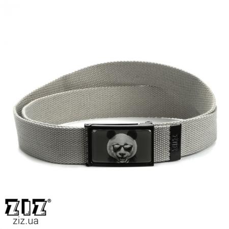 Ремень тканевый Панда в пиджаке, ZIZ-2903206 (черн, бел, хаки, коричн, син, сер)