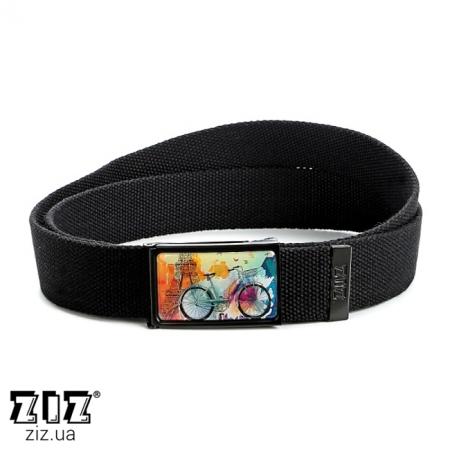 Ремень тканевый Парижское настроение, ZIZ-2902101 (черн, бел, хаки, коричн, син, сер)