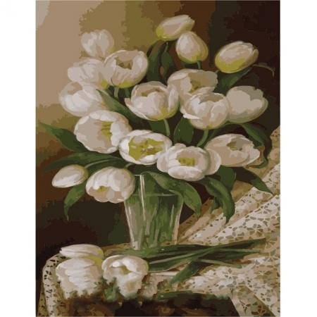 Рисование по номерам. Картина серии Букет 40х50см, Белые тюльпаны, Идейка (MG1063)