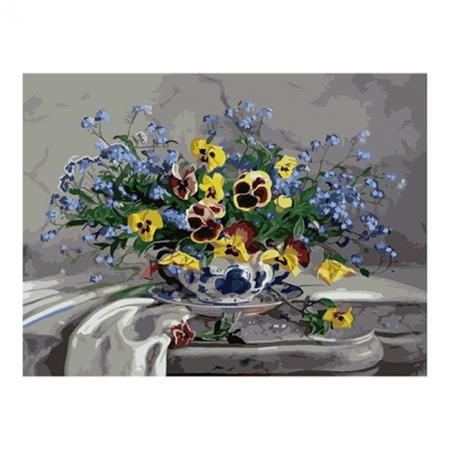 Рисование по номерам. Картина серии Букет 40х50см, Букет из анютиных глазок, Идейка (MG1009)
