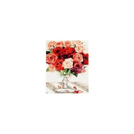 Рисование по номерам. Картина серии Букет 40х50см, Красно-белый букет роз, Идейка (MG118)