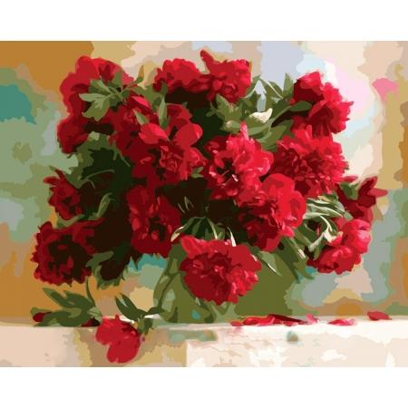 Рисование по номерам. Картина серии Букет 40х50см, Красные пионы, Идейка (MG1133)