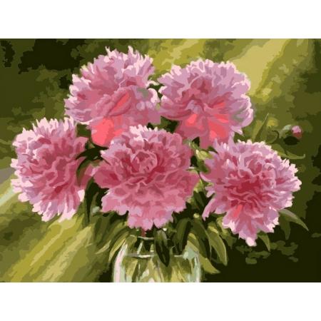Рисование по номерам. Картина серии Букет 40х50см, Розовые пионы в вазе, Идейка (MG1119)
