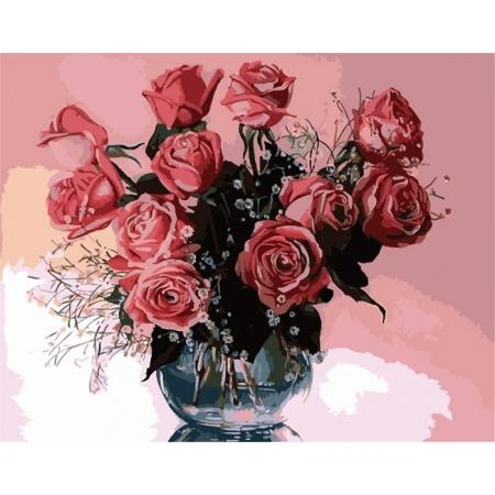 Рисование по номерам. Картина серии Букет 40х50см, Розовые розы 2, Идейка (MG1073)