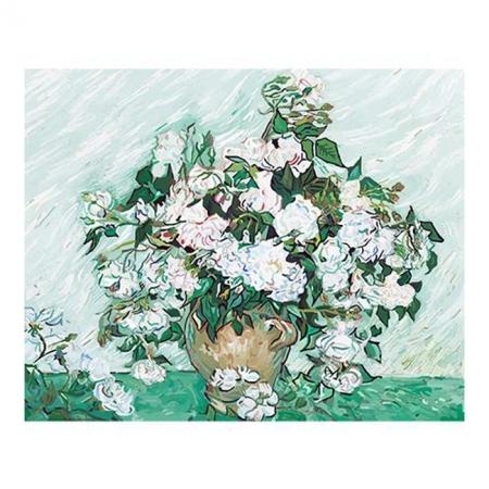 Рисование по номерам. Картина серии Букет 40х50см, Ваза с розами. Ван Гог, Идейка (G281)