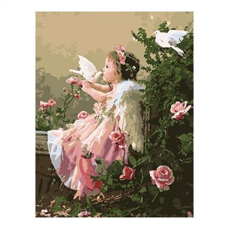 Рисование по номерам. Картина серии Дети 40х50см, Ангелочек и голуби, Идейка (MG1054)