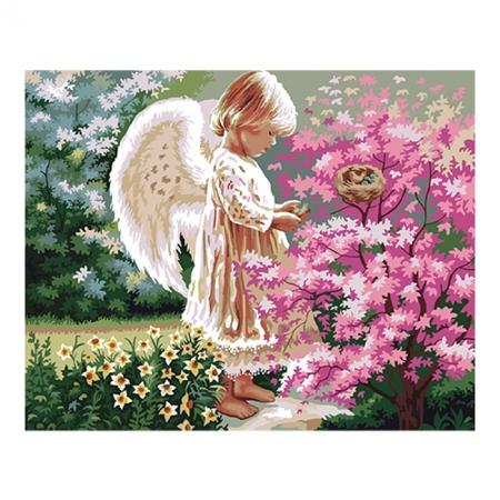 Рисование по номерам. Картина серии Дети 40х50см, Ангелочек и птички, Идейка (MG1048)