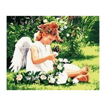 Рисование по номерам. Картина серии Дети 40х50см, Ангелочек с бабочкой, Идейка (MG310)