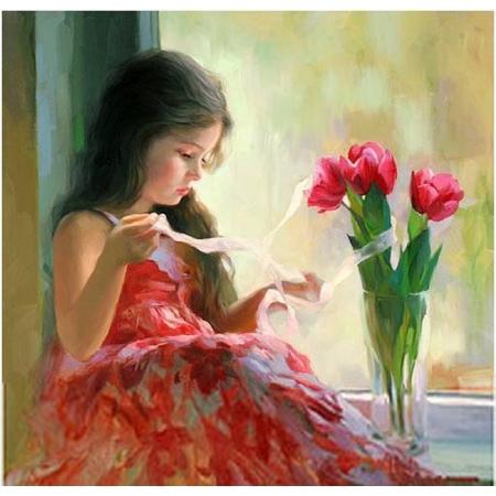 Рисование по номерам. Картина серии Дети 40х50см, Девочка и букет, Идейка (MG1125)