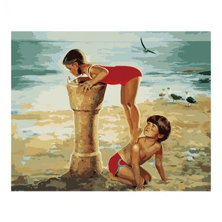 Рисование по номерам. Картина серии Дети 40х50см, Фонтанчик на пляже, Идейка (MG1022)
