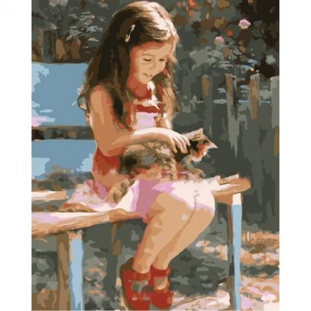 Рисование по номерам. Картина серии Дети 40х50см, Нежная дружба, Идейка (MG1128)