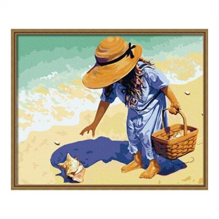Рисование по номерам. Картина серии Дети 40х50см, Ракушка на побережье, Идейка (MG037)