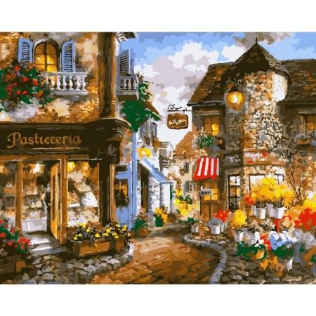 Рисование по номерам. Картина серии Городской пейзаж 40х50см, Цветочная площадь, Идейка (MG1115)