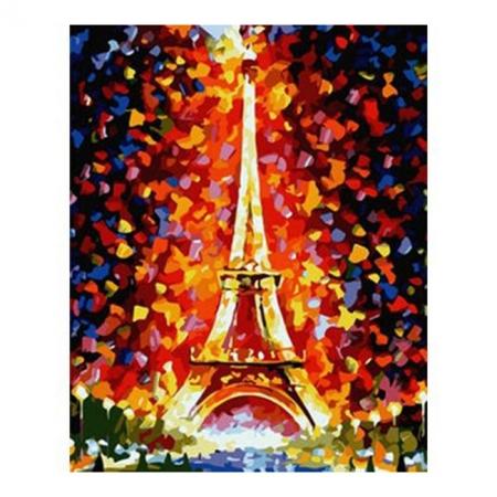 Рисование по номерам. Картина серии Городской пейзаж 40х50см. Эйфелева башня в огнях, Идейка (MG076)