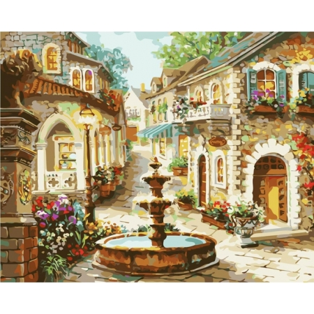 Рисование по номерам. Картина серии Городской пейзаж 40х50см, Фонтан на площади, Идейка (MG1113)