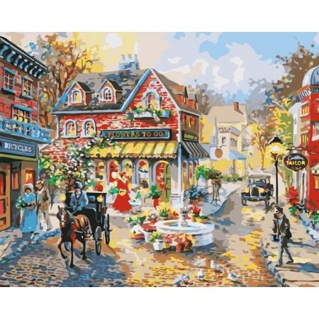 Рисование по номерам. Картина серии Городской пейзаж 40х50см, Городская площадь, Идейка (MG1112)