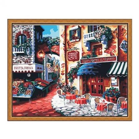 Рисование по номерам. Картина серии Городской пейзаж 40х50см, Кафе на углу улицы, Идейка (MG078)