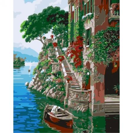 Рисование по номерам. Картина серии Городской пейзаж 40х50см, Красочная пристань, Идейка (MG1101)