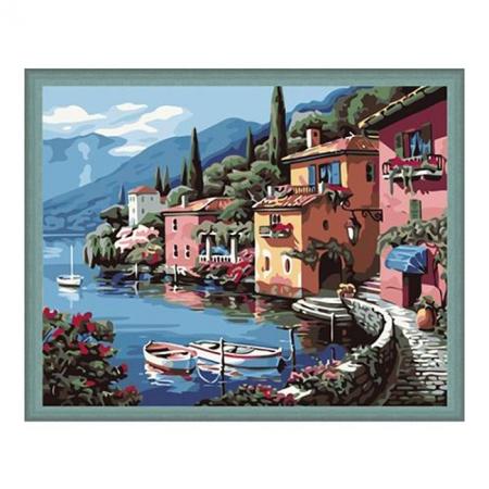 Рисование по номерам. Картина серии Городской пейзаж 40х50см, Утро на берегу озера, Идейка (MG103)