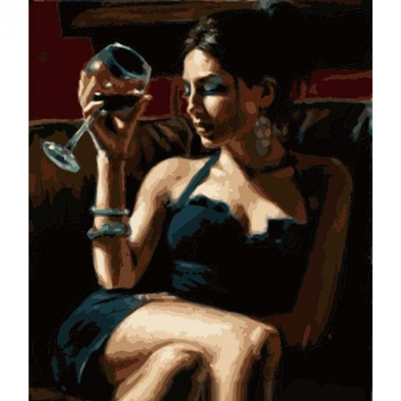 Рисование по номерам. Картина серии Люди 40х50см, Дама с бокалом, Идейка (MG1122)