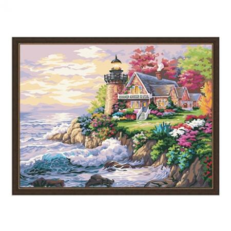 Рисование по номерам. Картина серии Морской пейзаж 40х50см, Домик у маяка, Идейка (MG115)