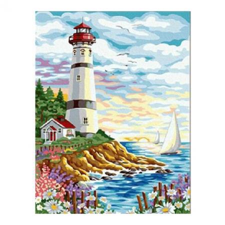 Рисование по номерам. Картина серии Морской пейзаж 40х50см, Маяк и парусник, Идейка (MG086)