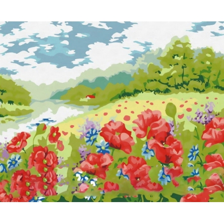 Рисование по номерам. Картина серии Пейзаж 40х50см, Поле маков, Идейка (MG152)