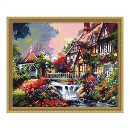 Рисование по номерам. Картина серии Сельский пейзаж 40х50см, Маленький мостик над водопадом, Идейка (MG009)