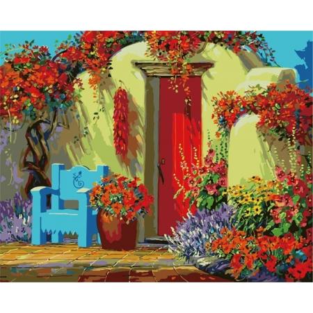 Рисование по номерам. Картина серии За городом40х50см, Дворик в цветах, Идейка (MG1087)