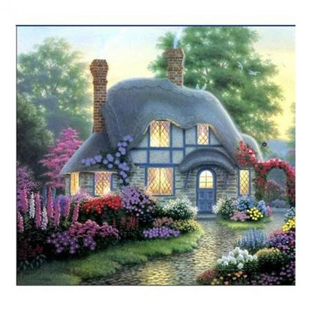 Рисование по номерам. Картина серии За городом40х50см, Маленький домик в цветах, Идейка (MG300)